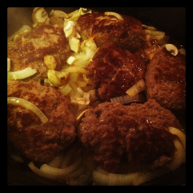 O.M.G. Salisbury Steaks in the pan